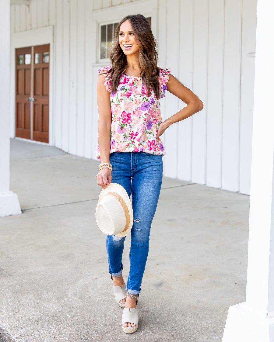 On The Sweet Side Floral Top - Blush