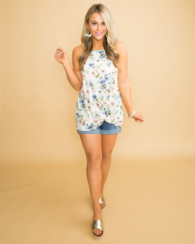 On Cloud Nine Floral Knot Tank - Off White