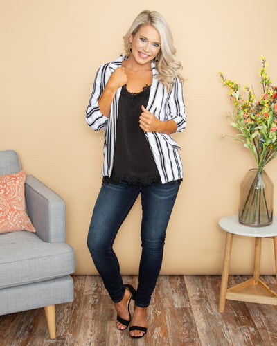 On The Road To Fabulous Stripe Blazer - Black/Off White