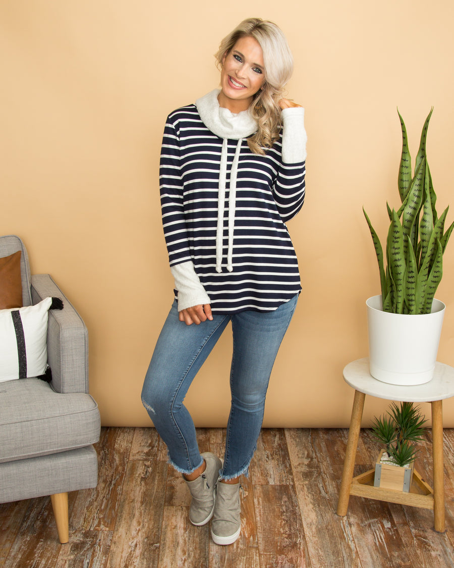 On The Sidelines Top - Navy