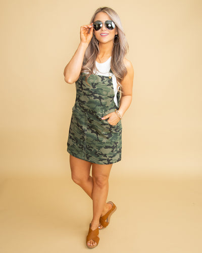 On Trend Overall Dress - Camo