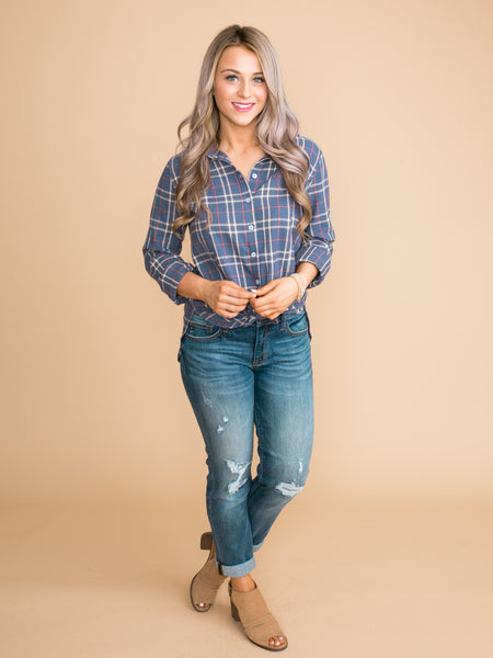 Once And For All Plaid Button Down - Blue