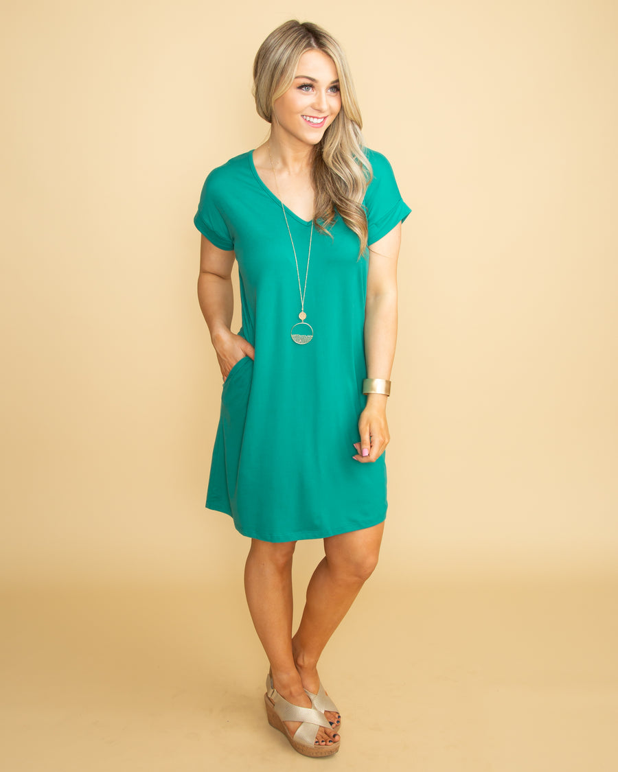 One Fine Day V-Neck Dress - Jade