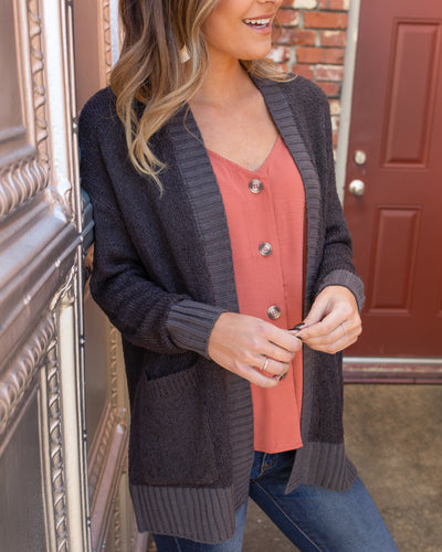 One Good Reason Cardigan - Charcoal