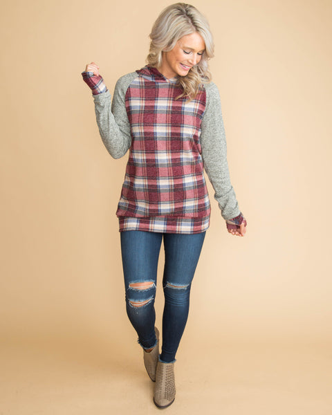 One Thing Is For Sure Plaid Color-Block Hoodie - Wine