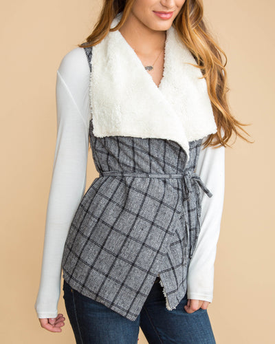 Only For This Moment Plaid Vest - Black