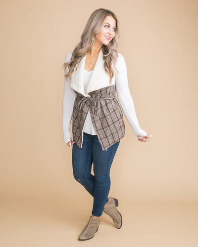 Only For This Moment Plaid Vest - Mocha
