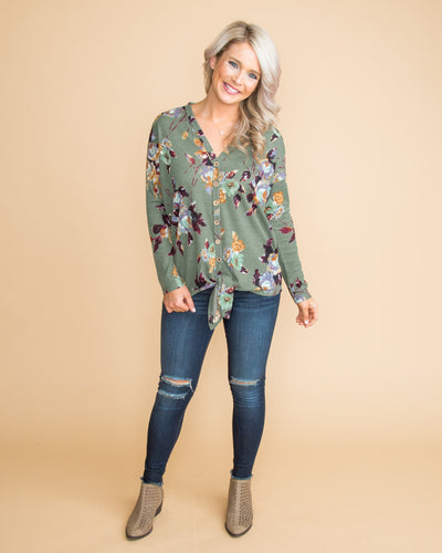 Only For You Floral Tie-Front Top - Sage