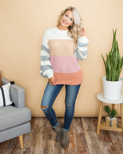 Opposites Attract Color-Block Sweater - Off White
