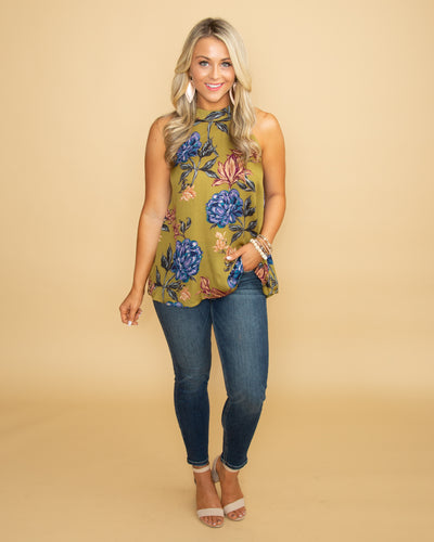 Our Love Story Floral Halter Top - Olive
