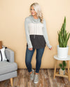 Our Time Is Now Cowl Neck Color-Block Top - Grey