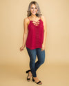 Paris Is Calling Lace Criss Cross Tank - Wine