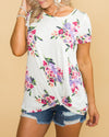 Passport To Paris Floral Knot Top - Off White