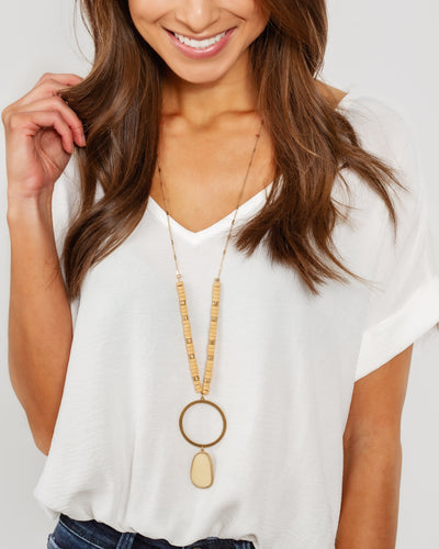 Payton Beaded Necklace - Tan