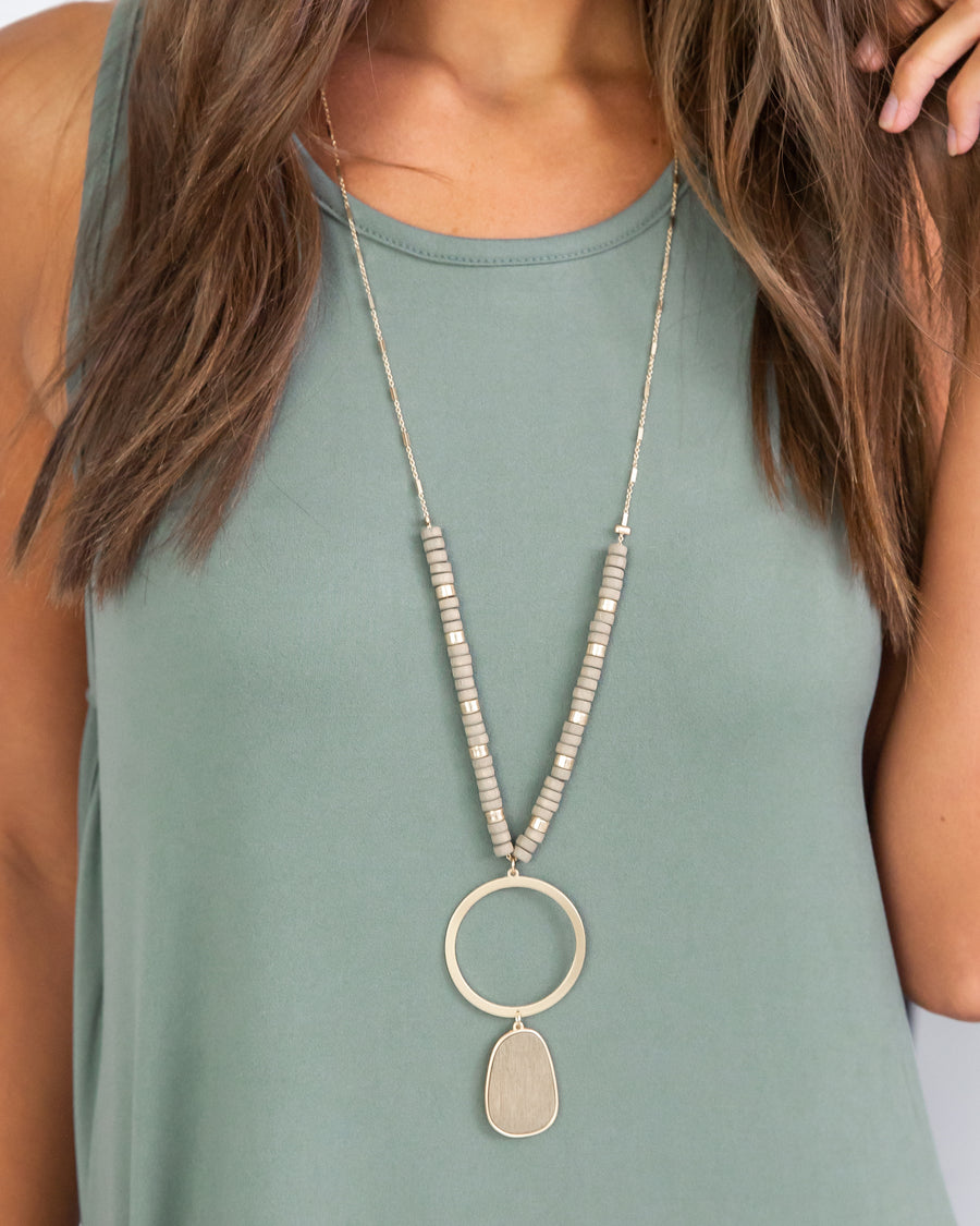 Payton Beaded Necklace - Grey