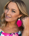 Penelope Feather Earrings - Hot Pink