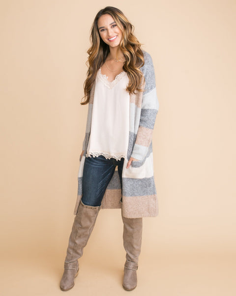 Perfect For That Color-Block Cardigan - Grey Multi