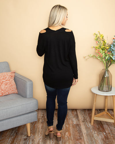 Perfect For Us Open Shoulder Ribbed Top - Black