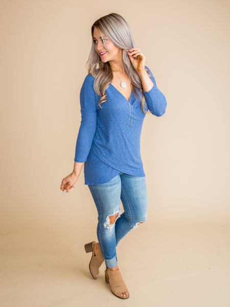 Perfect In Every Way Draped Top - Sapphire