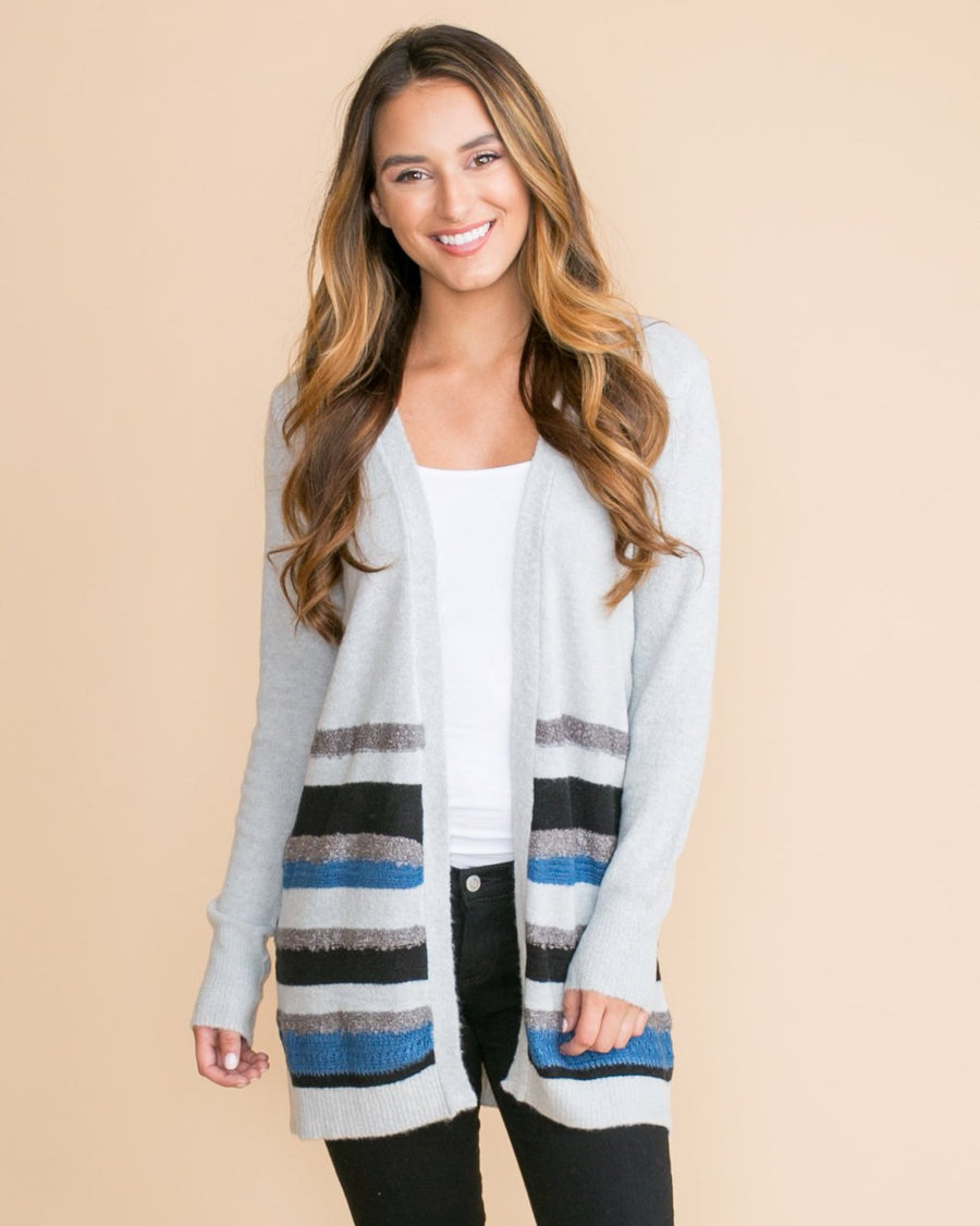 Perfect Timing Color-Block Cardigan - Grey