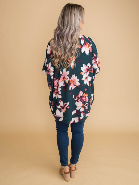 Perfectly Pretty Floral Cardigan - Deep Forest