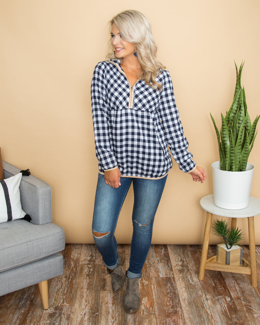 Pick Of The Plaid Pullover - Navy