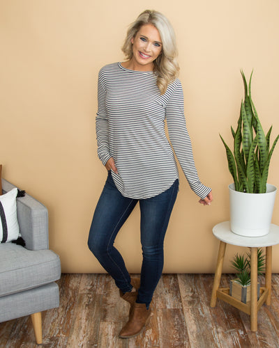 Picture Perfect Elbow Patch Tunic - Navy