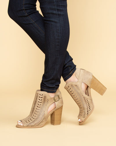 Piper Open Toe Cutout Bootie - Tan