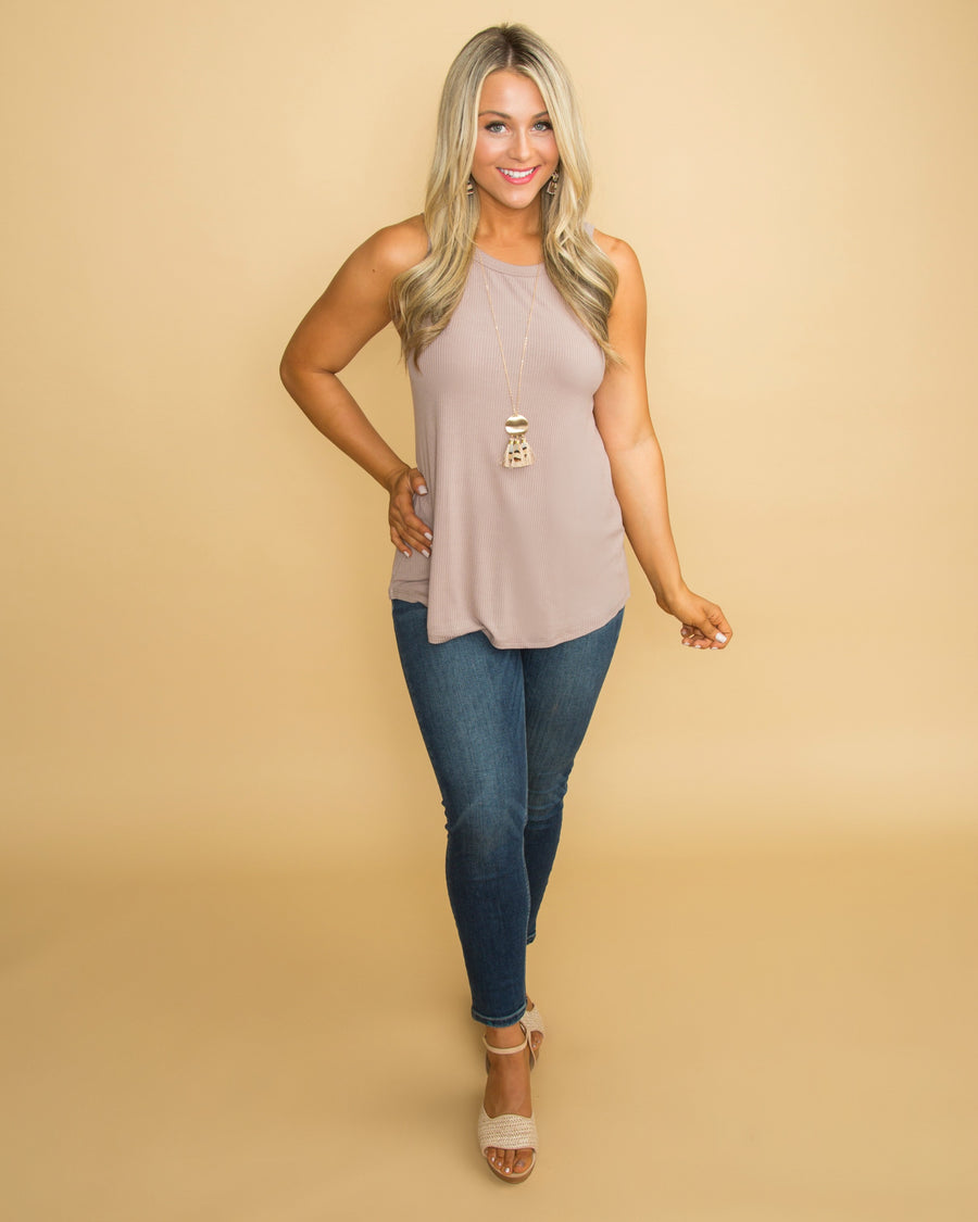 Precious To Me Ribbed Tank - Taupe