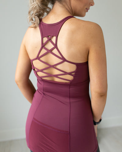Push The Pace Cutout Racer Back Tank - Burgundy