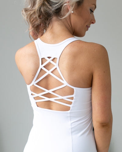 Push The Pace Cutout Racer Back Tank - White