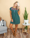 Put It On My Heart Embroidered Dress - Hunter Green