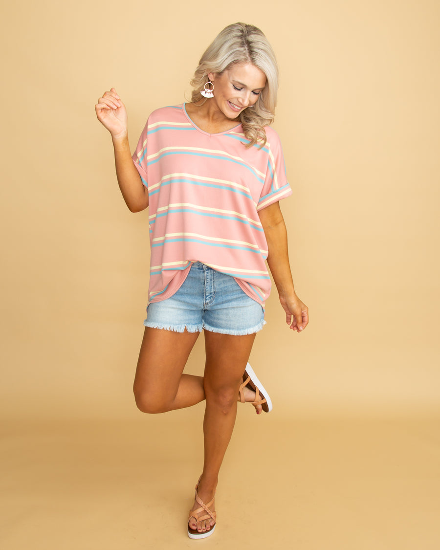 Race To The Sunset Stripe V-Neck Top - Dusty Rose