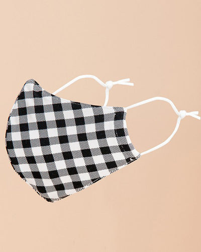 Rachel Gingham Face Mask - Black/White