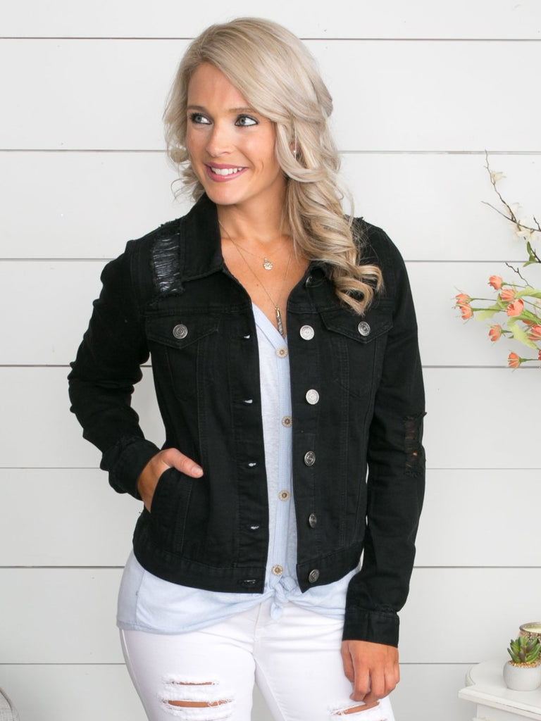 Raelyn Distressed Denim Jacket - Black
