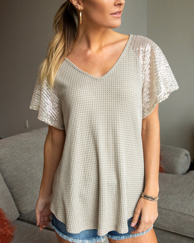 Raise A Glass Top - Taupe