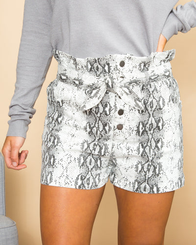 Ready For The Challenge Snakeskin Short - Ivory Multi