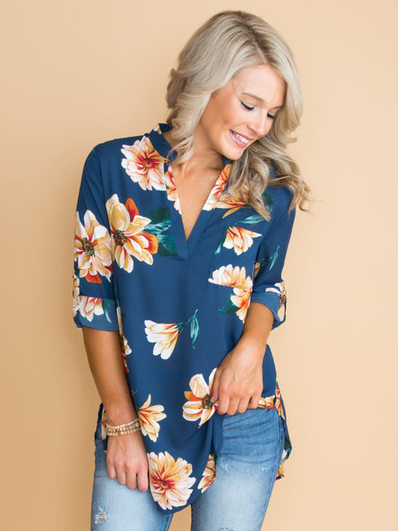 Reasons Why I Love You Floral Top - Navy