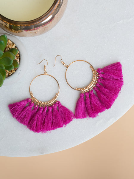 Rebekah Tassel Earrings - Deep Orchid