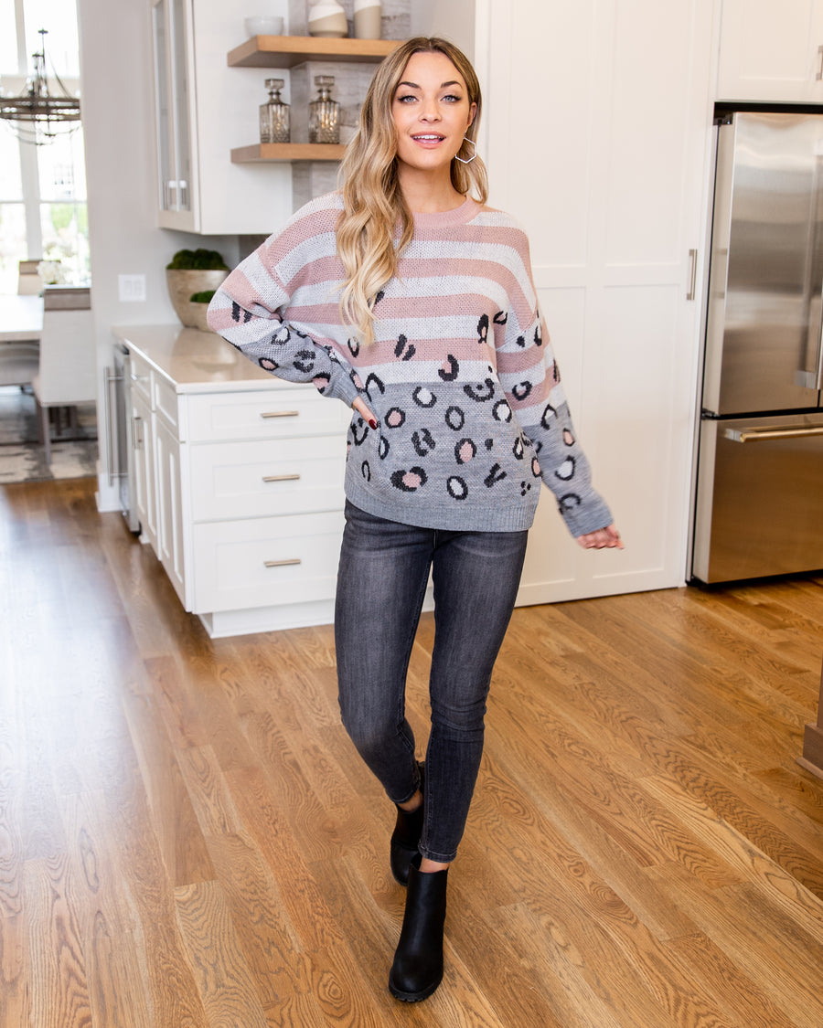 Rely On Romance Sweater - Pink/Grey