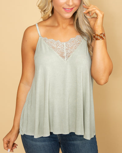 Rewrite Our Romance Lace Tank - Sage