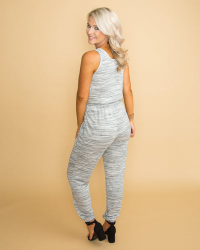 Right On Point Jumpsuit - Heather Grey