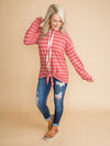 Right On Time Stripe Knot Pullover - Brick