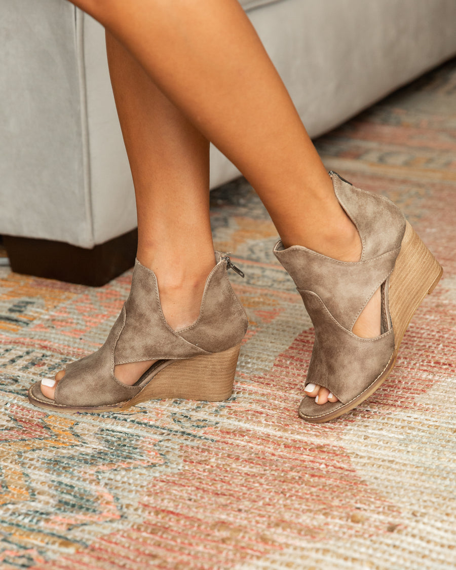 River Open Toe Booties - Dark Taupe