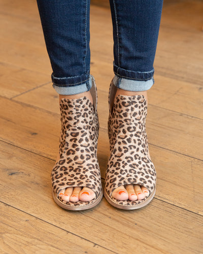 River Open Toe Booties - Leopard