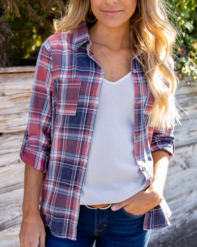 Road Trip Together Button Down Top - Navy