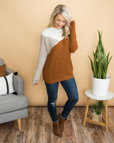 Rooting For You Sweater - Cognac