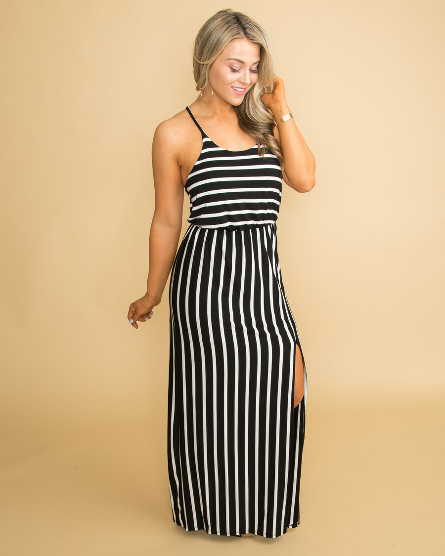 a376995cfd Rumor Has It Striped Maxi - Black White