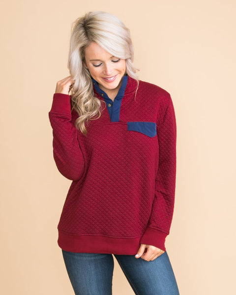 Salt Lake City Quilted Pullover - Burgundy