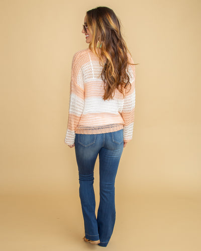 San Francisco In Spring Open Knit Color-Block Top - Sunset Peach